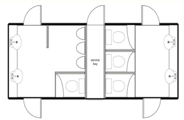 Large Deluxe White Mobile Toilet Unit Plan