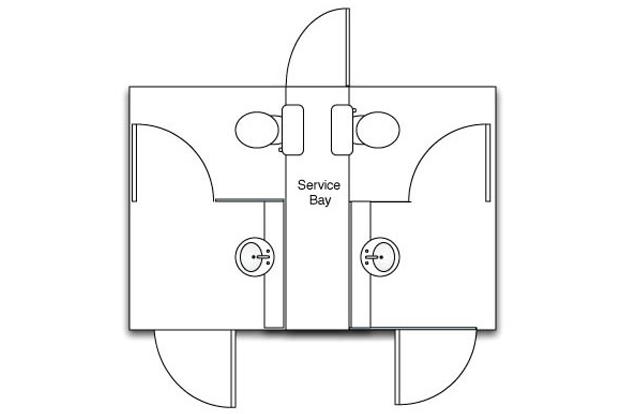 Mini Deluxe White Mobile Toilet Plan