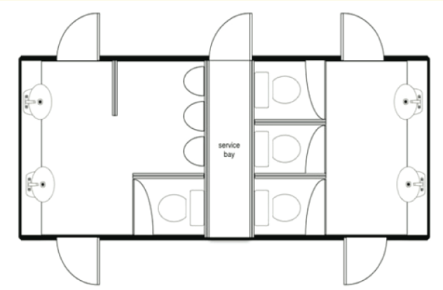 Large Deluxe White Mobile Toilet Unit Plan