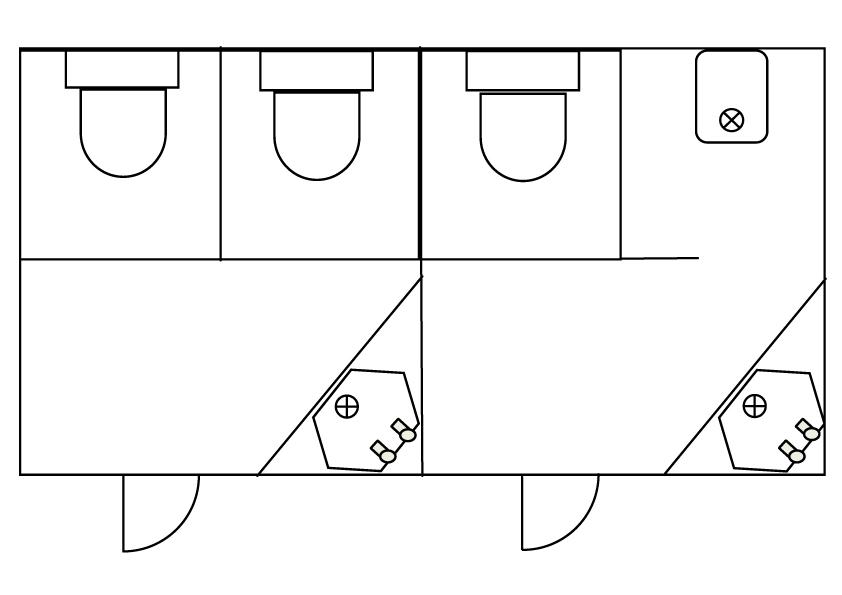Medium Standard Blue Mobile Toilet Plan